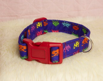 Space Invader Pup Collar - 11 to 15 inches