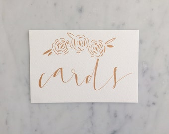 Custom 6 x 4 inch Hand Drawn Metallic Rose Gold Lettering Sign / GARDEN LOVE / Cards Sign / Calligraphy/ Party Wedding Birthday Bridal /