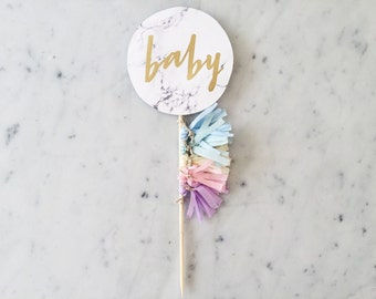Cake Topper / Marble Print / Modern Calligraphy / Custom Hand Lettered/ Unicorn Mane Pastel Rainbow / Mini Tassels Balloon / Birthday / Baby