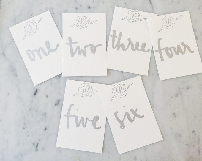 Custom 6 x 4 inch Hand Drawn Metallic Silver Lettering Sign / GARDEN LOVE / Table Number Signs / Calligraphy/ Party Wedding Birthday Hens/