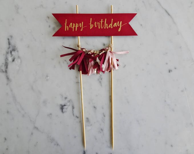 Cake Topper / Gold Modern Calligraphy / Custom Hand Lettered/ Wine Red Burgundy Blush Pink Gold / Made-To-Order/ Hand Made Mini Tassels /