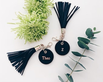 Monogrammed Tassel Leather Keying / Personalised Gift / Black / Mens Gift / Gold Rose Gold Silver Foil / Key Chain / Travel / Customised