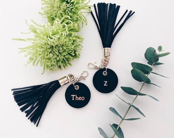 Monogrammed Tassel Leather Keying / Personalised Gift / Black / Mens Gift / Gold Rose Gold Silver Foil / Key Chain / Travel