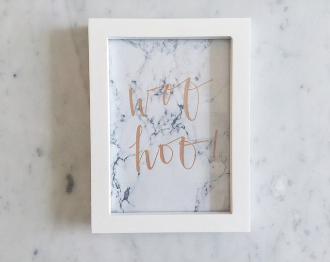 Custom Ink Calligraphy Home Decor / Includes Frame / Marble Print Paper / Modern Calligraphy / Woohoo / Writing / Party / Home / Minimal