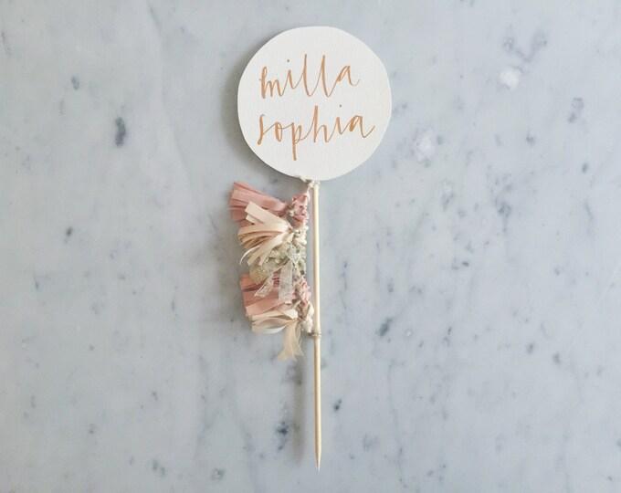 Cake Topper / Rose Gold Modern Calligraphy / Custom Hand Lettered/ Blush Pink Peach Gold Neutrals / Mini Tassels Balloon / Birthday Wedding/