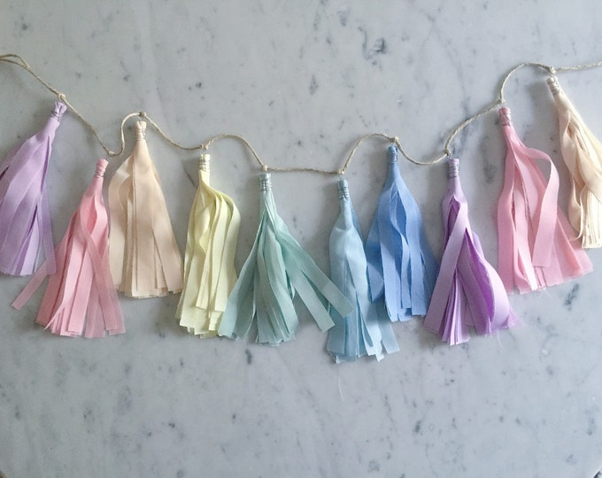 9 Inch Fabric Tassel Garland/ Bespoke / Customisable/ Made-to-order/ Unicorn Mane Rainbow Pastels / Baby Showers Kids Childrens Bedroom /