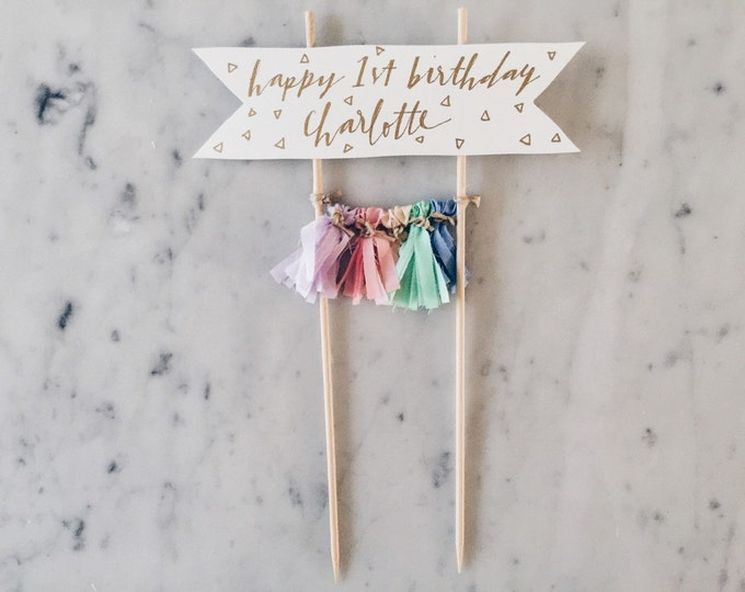 Cake Topper / Gold Modern Calligraphy / Custom Hand Lettered/ Unicorn Pastel Rainbow / Made-To-Order/ Hand Made Tassels / Party / Birthday