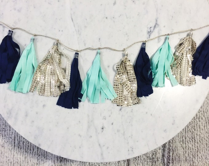 9 Inch Fabric Tassel Garland / Handmade / Customise / Navy Blue Mint Green Gold / Weddings Bridal Hens Birthday Baby-Shower Baby /