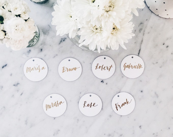 Custom Hand Drawn Metallic Gold Lettering Sign / Name Cards Tags / Place Card / Calligraphy/ Party Event Wedding Birthday Outdoor Hens