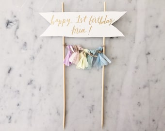 Cake Topper / Gold Modern Calligraphy / Custom Hand Lettered/ Unicorn Pastel Rainbow / Made-To-Order/ Hand Made Mini Tassels / Party Time