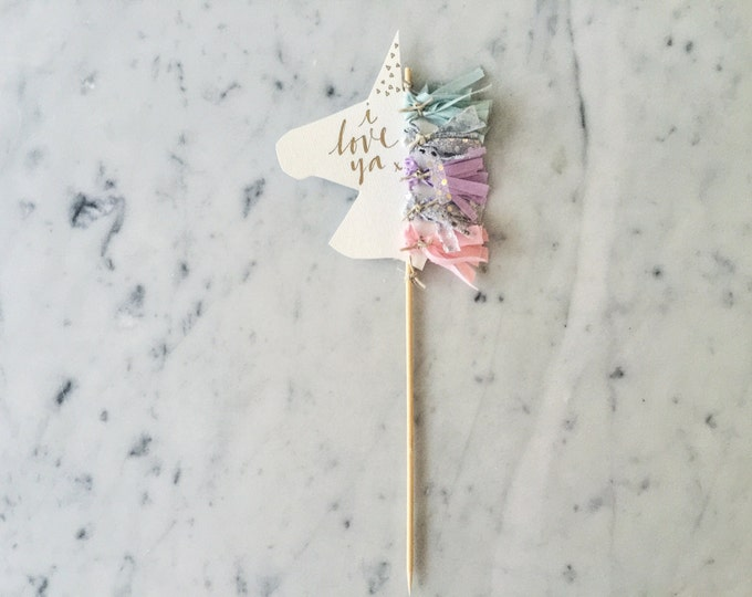 Featured listing image: Unicorn Cake Topper / Gold Modern Calligraphy / Custom Hand Lettered / Silver Lilac Pink Mint / Mini Tassels / Unicorn Mane Pastels /