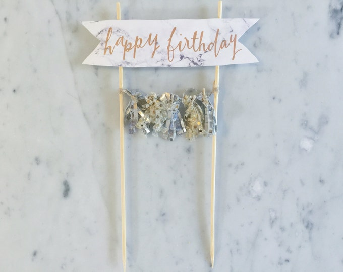 Cake Topper / Marble Print Paper / Rose Gold Modern Calligraphy / Custom Hand Lettered/ Silver Gold / Hand Made Mini Tassels / Birthday /