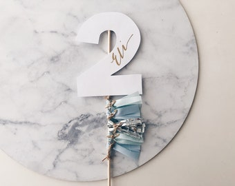 Cake Topper / Two / Second Birthday / Gold Modern Calligraphy / Custom Hand Lettered / Blue Mint Silver / Mini Tassels / Pastels / Boy Baby