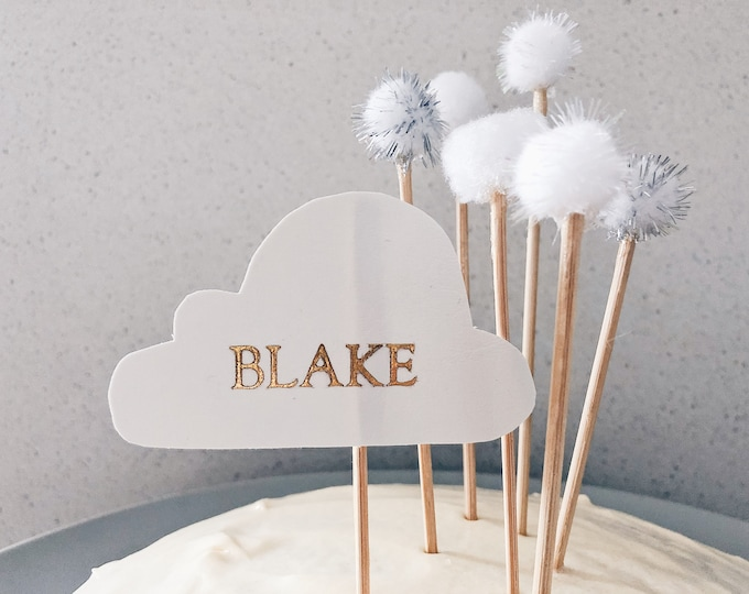 Pom Pom Cake Topper /  Birthday / White / Made-To-Order/ Hand Made / Party / Clouds / Minimal / Silver / Holographic / Bridal / Wedding /
