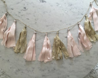 9 Inch Fabric Tassel Garland/ Bespoke / Customisable/ Made-to-order/ Blush Light Pink Gold / Baby Girl / Baby Showers Weddings Bridal Hens/
