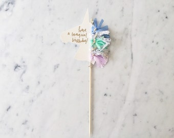 Unicorn Cake Topper / Gold Modern Calligraphy / Custom Hand Lettered / Silver Lilac Blue Mint / Mini Tassels / Unicorn Mane Pastels /