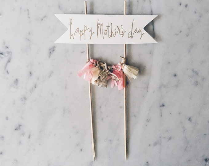 Cake Topper / Gold Calligraphy / Custom Hand Lettered/ Mother's Day / Pink Pastel Gold Peach / Mini Tassels / Personalised / Modern