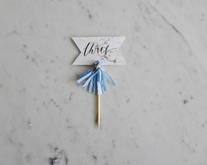 Mini Cake Topper / Modern Calligraphy / Custom Hand Lettered/ Marble Name Blue / Made-To-Order/ Hand Made Mini Tassels /