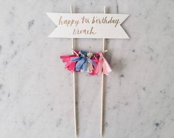 Cake Topper / Gold Calligraphy / Custom Hand Lettered/ Fushia Pink Blue Gold/ Made-To-Order/ Hand Made Mini Tassels / Baby Girl Name