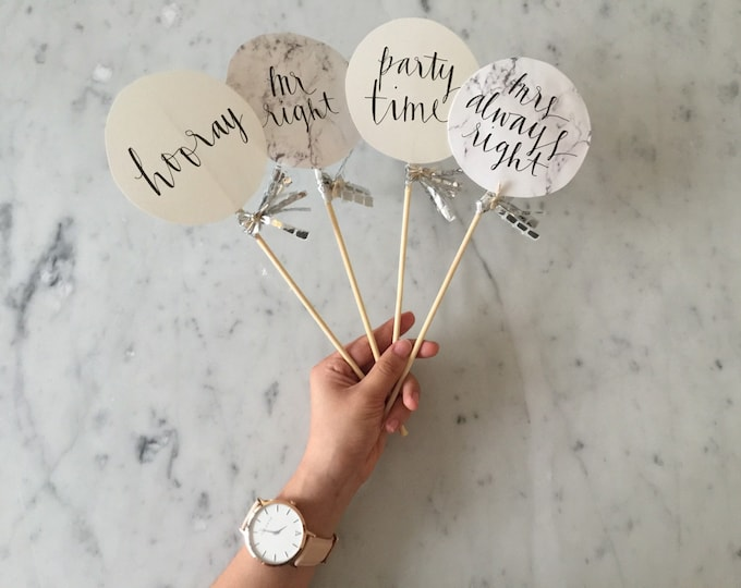 Photobooth Prop (ONE only) / Modern Calligraphy / Custom Hand Lettered / Silver / Mini Tassels Balloon / Birthday Wedding Baby Shower GIF