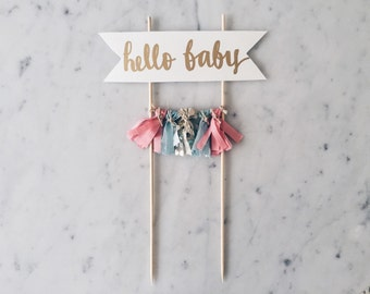 Cake Topper / Silver Calligraphy / Custom / Pink Blue / Gender Reveal Cake / Made-To-Order/ Hand Made Mini Tassels / Hello Baby