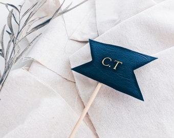 Monogrammed Vegan Leather Cake Topper / Navy Gold / Embossed / Hot Stamped Foil / Keepsake / Personalised / Personalized / Hand Made / Baby