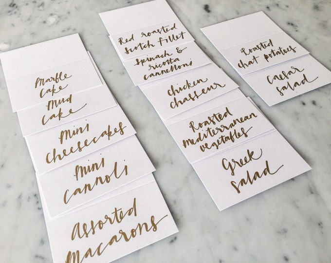 Custom Hand Drawn Metallic Gold Copper Lettering Sign / Dessert Name Cards Tags / Calligraphy/ Party Event Wedding Birthday Outdoor Hen