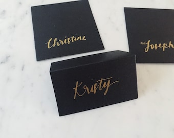Custom Hand Lettered Metallic Gold Lettering Sign / Name Cards Tags / Black Place Card / Calligraphy / Party Event Wedding Birthday /