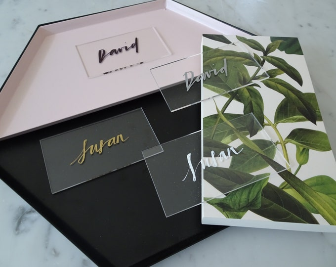 White Lettering Perspex Clear Place Card Custom Hand Drawn / Acrylic Name Signs / Modern Calligraphy / Party Wedding / 9cm x 5cm