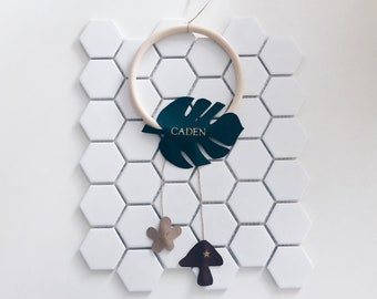 Monogrammed Vegan Leather Nursery Name Decor / Monstera Leaf / Forest / Wild One / Gold / Embossed / Hot Stamped Foil / Personalised / Green