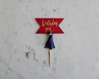 Mini Cake Topper / Modern Calligraphy / Custom Hand Lettered / Red Burgundy Wine Gold / Made-To-Order/ Hand Made Mini Tassels / Birthday