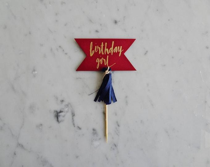 Mini Cake Topper / Modern Calligraphy / Custom Hand Lettered / Red Burgundy Wine Gold / Made-To-Order/ Hand Made Mini Tassels / Birthday