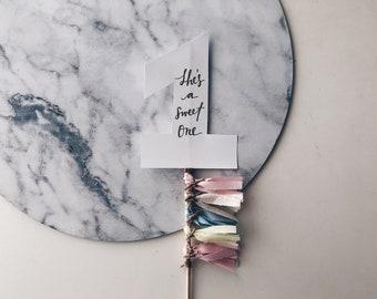 Cake Topper / One / First Birthday / Gold Modern Calligraphy / Custom Hand Lettered / Blush Pink Cream Neutrals / Mini Tassels / Pastels /