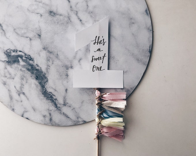 Cake Topper / One / First Birthday / Gold Modern Calligraphy / Custom Hand Lettered / Blush Pink Cream Neutrals / Mini Tassels / Pastels /