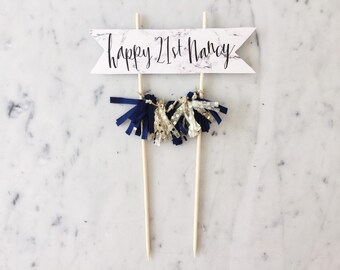 Cake Topper / Marble Print Paper / Modern Calligraphy / Custom Hand Lettered / Navy Blue Gold / Hand Made Mini Tassels / Birthday Wedding