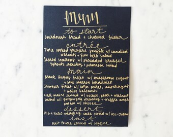 Custom A5 Hand Drawn Metallic Gold Lettering Sign / Black Card / Menu Signs / Modern Calligraphy / Party Wedding Birthday Hens/