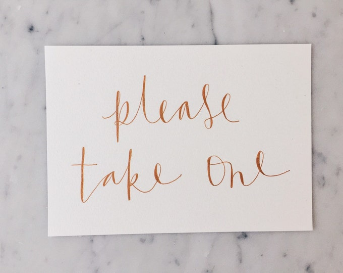 ONE CARD Custom A5 Hand Drawn Metallic Rose Gold Copper Lettering Sign / Guest Book Cards Signs / Calligraphy/ Party Wedding Birthday