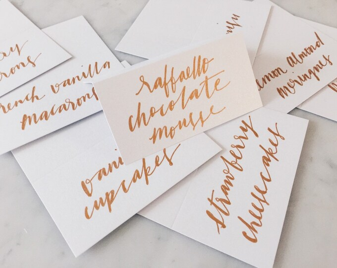 Custom Hand Drawn Metallic Rose Gold Copper Lettering Sign / Dessert Name Cards Tags / Calligraphy/ Party Event Wedding Birthday Outdoor Hen