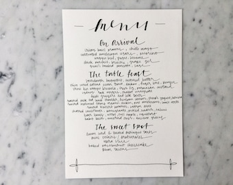 Custom A5 Hand Drawn Black Lettering Sign / White Card / Menu Signs / Modern Calligraphy / Party Wedding Birthday Hens/
