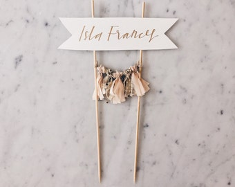 Cake Topper / Gold Calligraphy / Custom Hand Lettered/ Pastel Peach Gold/ Made-To-Order/ Hand Made Mini Tassels / Baby Girl Name