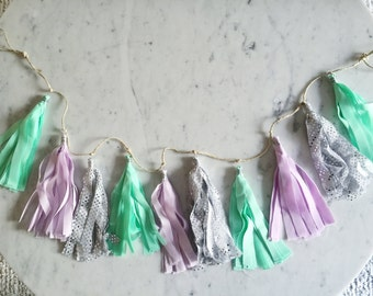 9 Inch Fabric Tassel Garland / Handmade / Customise / Purple Lilac Mint Silver / Weddings Bridal Hens Birthday Baby-Shower Baby Girl /
