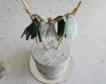 Mini Tassel Cake Topper / Custom / Olive Green Grey Mint / Made-To-Order/ Hand Made Mini Tassels / Birthday Party / Bamboo Sticks / Cotton