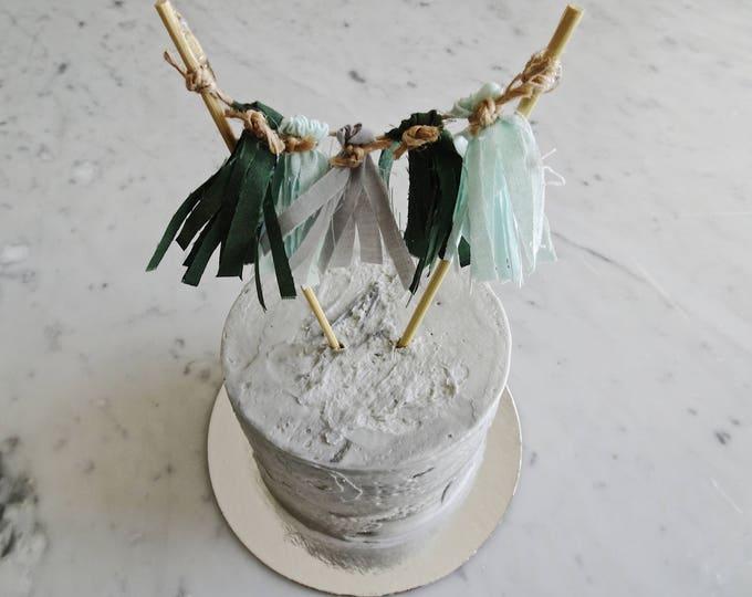 Mini Tassel Cake Topper / Custom / Olive Green Grey Mint / Made-To-Order/ Hand Made Mini Tassels / Birthday Party / Bamboo Sticks / Cotton
