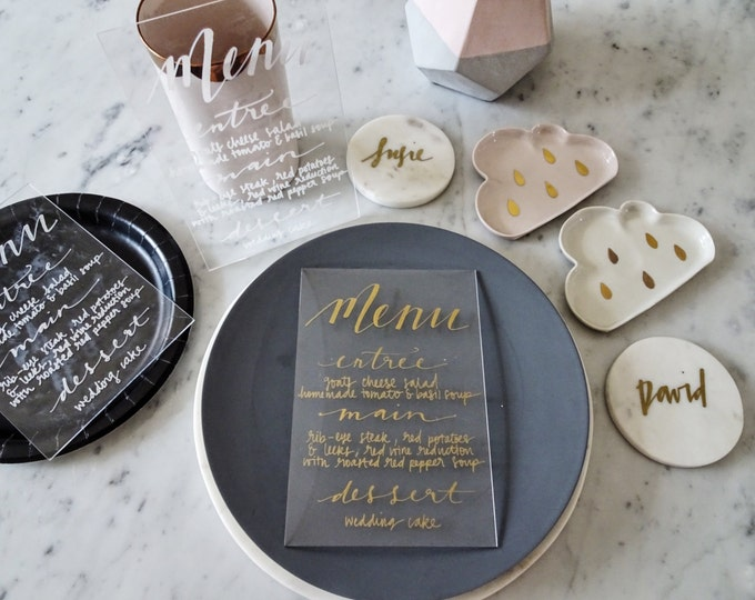 Metallic Gold Lettering Perspex Clear Sign Custom Hand Drawn / Acrylic Menu Signs / Modern Calligraphy / Party Wedding / 14cm x 20.5cm