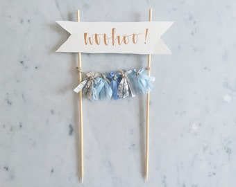 Cake Topper / Rose Gold Modern Calligraphy / Custom Hand Lettered/ Blue Silver / Made-To-Order/ Hand Made Mini Tassels /