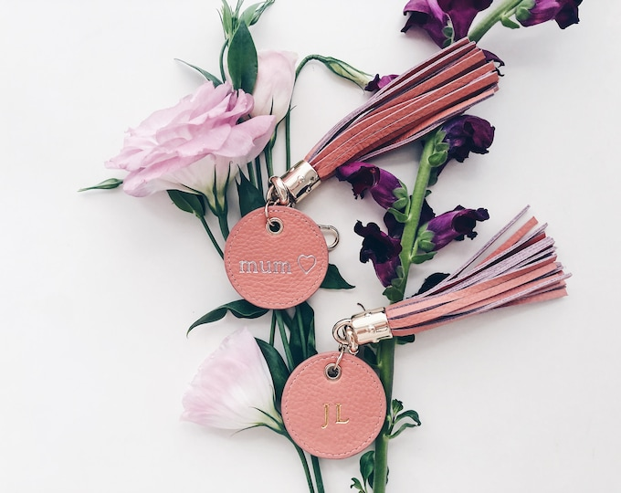 Monogrammed Tassel Leather Keying / Personalised Gift / Blush Pink / Girl Gift / Gold Rose Gold Silver Foil / Key Chain / Travel