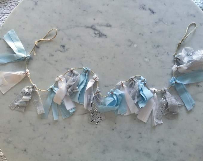 5 Inch Fabric Tassel Garland / Handmade Party Decor/ Customised / Baby Blue Sky Blue White Silver / Baby Boy /  Birthdays Baby-Showers Etc /