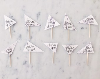 10 Cupcake Topper Set / Hand Made / Modern Calligraphy / Custom Hand Lettered / Triangle / Marble Paper / Birthday Wedding Baby Shower Desse