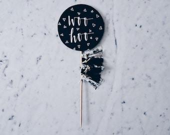 Cake Topper / Modern Calligraphy / Custom Hand Lettered / Silver Black / Made-To-Order/ Hand Made Mini Tassels / Birthday / Name Baby