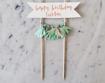 Cake Topper / Rose Gold Copper Calligraphy / Custom Hand Lettered/ Mint Gold / Mini Tassels / Happy Birthday / Party Decor